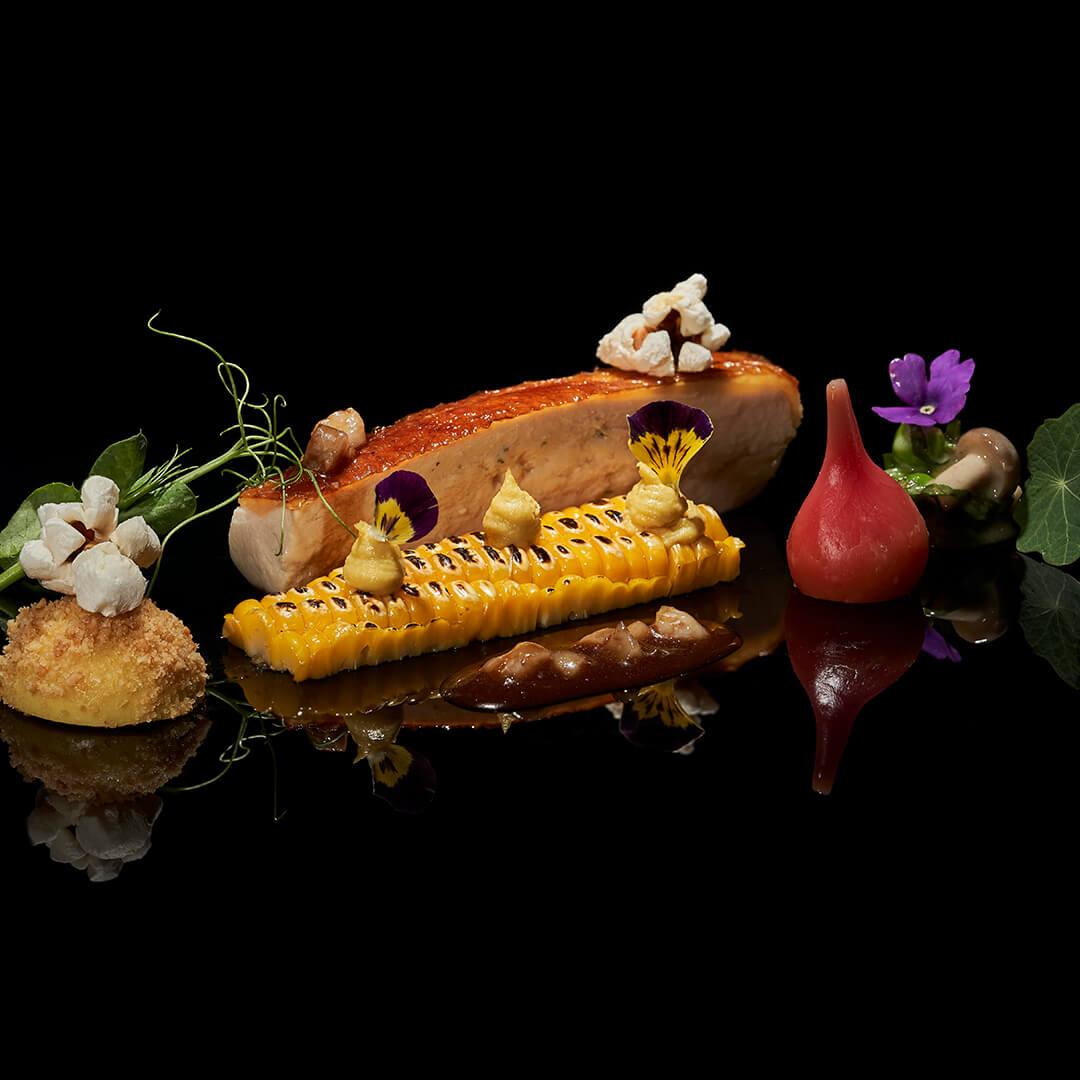 Galinha bio / Maçaroca da horta / sauce Albufeira